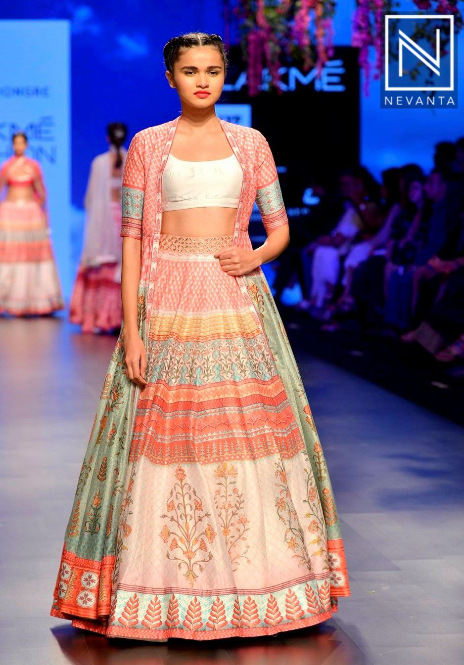 A Printed Crop Top Lehenga With A Matching Long Jacket By Anitadongre Traditional Fashion Clothes For Women Cropped Jacket Outfit