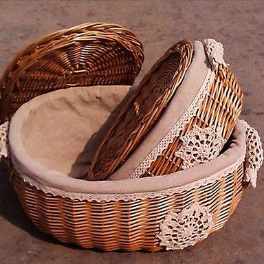 Malha Flor Oval Handmade cesta de vime de armazenamento de Grany com Cover - One Piece – BRL R$ 31,27