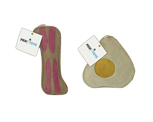 Eco Friendly Leather Natural Dog Chew Toys Bacon And Fried Egg