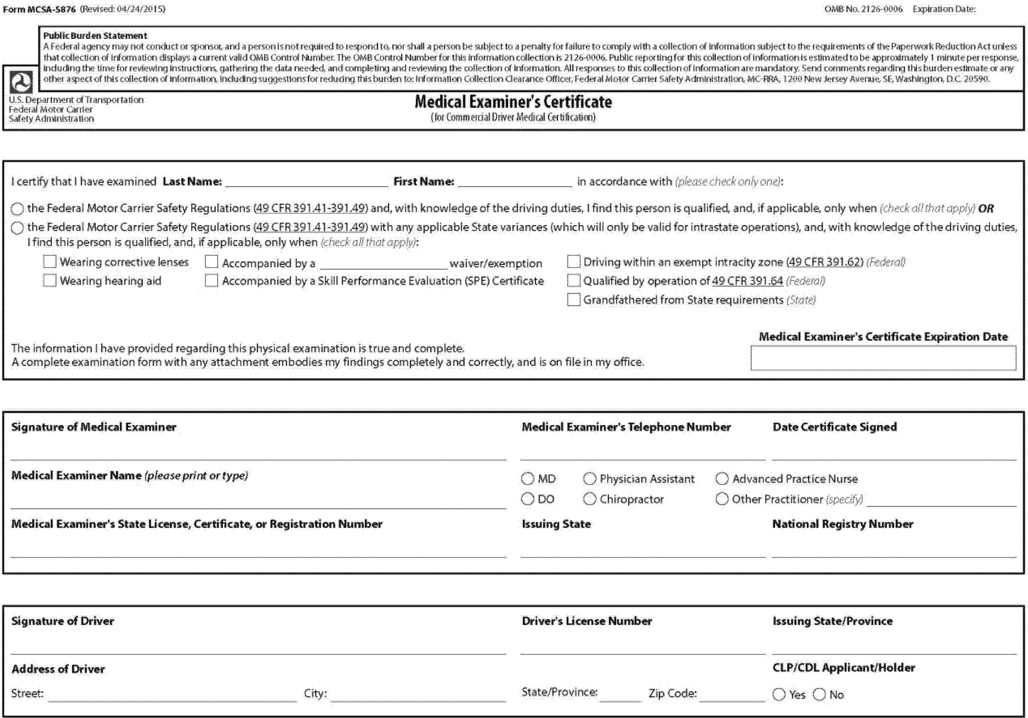 Medical Examiners Certificate form Mcsa 5876 original