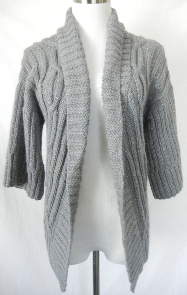 e2a15418c TRINA TURK Silver Metallic Open Front Sweater Cardigan M Gray Cable ...