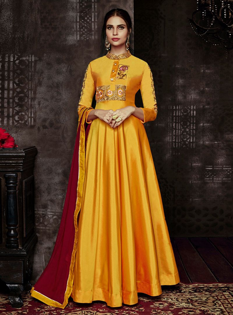 1abe34b94f4 Buy Yellow Taffeta Readymade Long Anarkali Suit 140586 online at lowest  price from huge collection of salwar kameez at Indianclothstore.com.