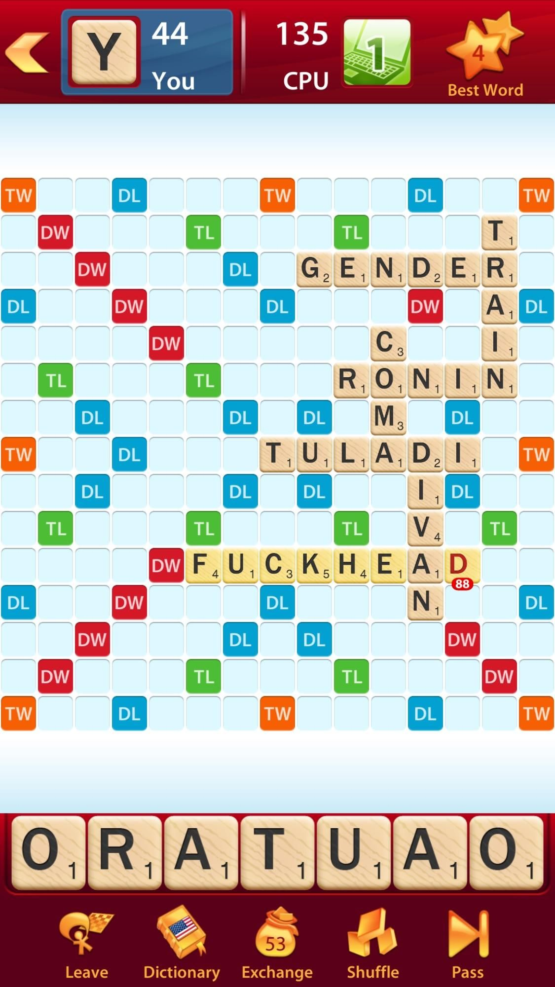 The scrabble app computer played a word not found in its