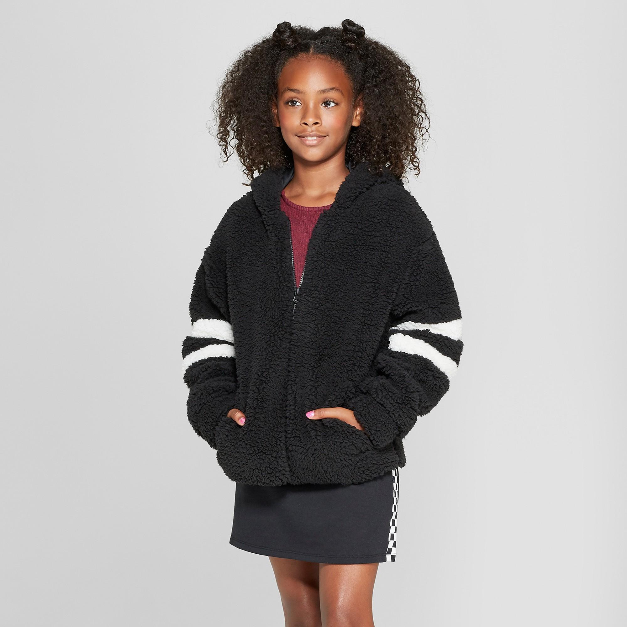 Girls' Sherpa Zip Front Hoodie art class Black Xxl Zip