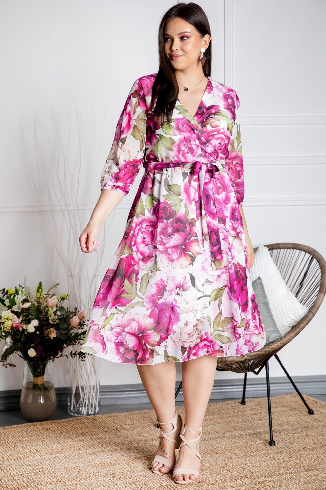 Sukienka Kopertowa Rozkloszowana Szyfonowa Selena Ecru W Rozowe Kwiaty I Liscie Akwarela Fashion Dresses Casual Dress