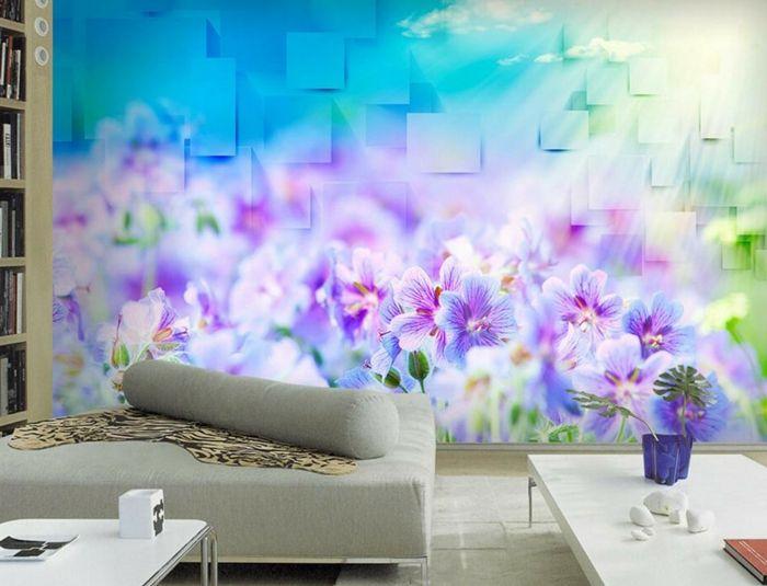 Wandgestaltung Im Wohnzimmer Mit 3 D Tapeten Mit Blumenmotiven, Ineinander  übergehende Farben