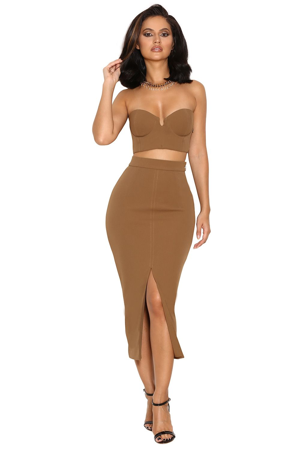 'Clothing : 2 Pieces : 'Caspiana' Camel Crepe Bustier Two Piece