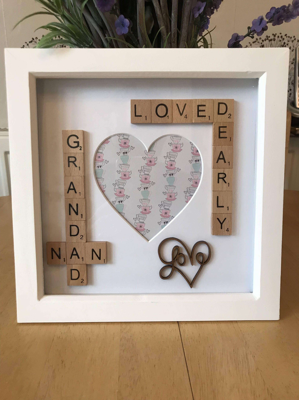 Grandma grandad photo scrabble Box Frame Gift. Nan Nana Nanny Gift ...