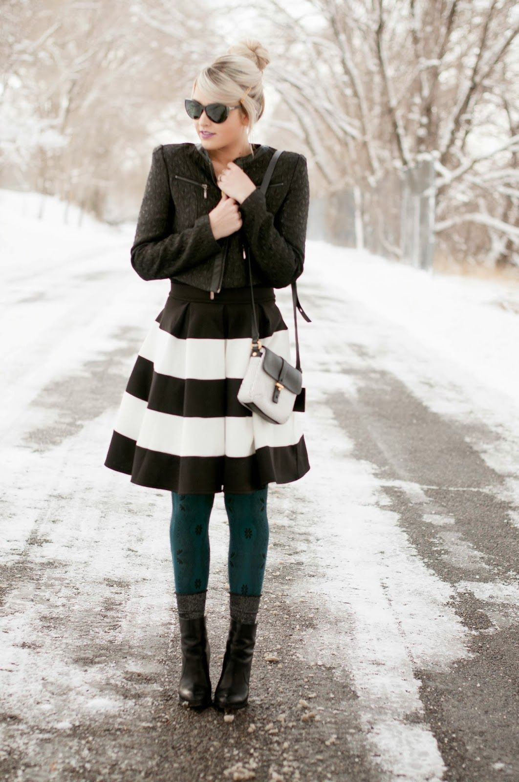 chic black and white for winter (but not with green tights!)