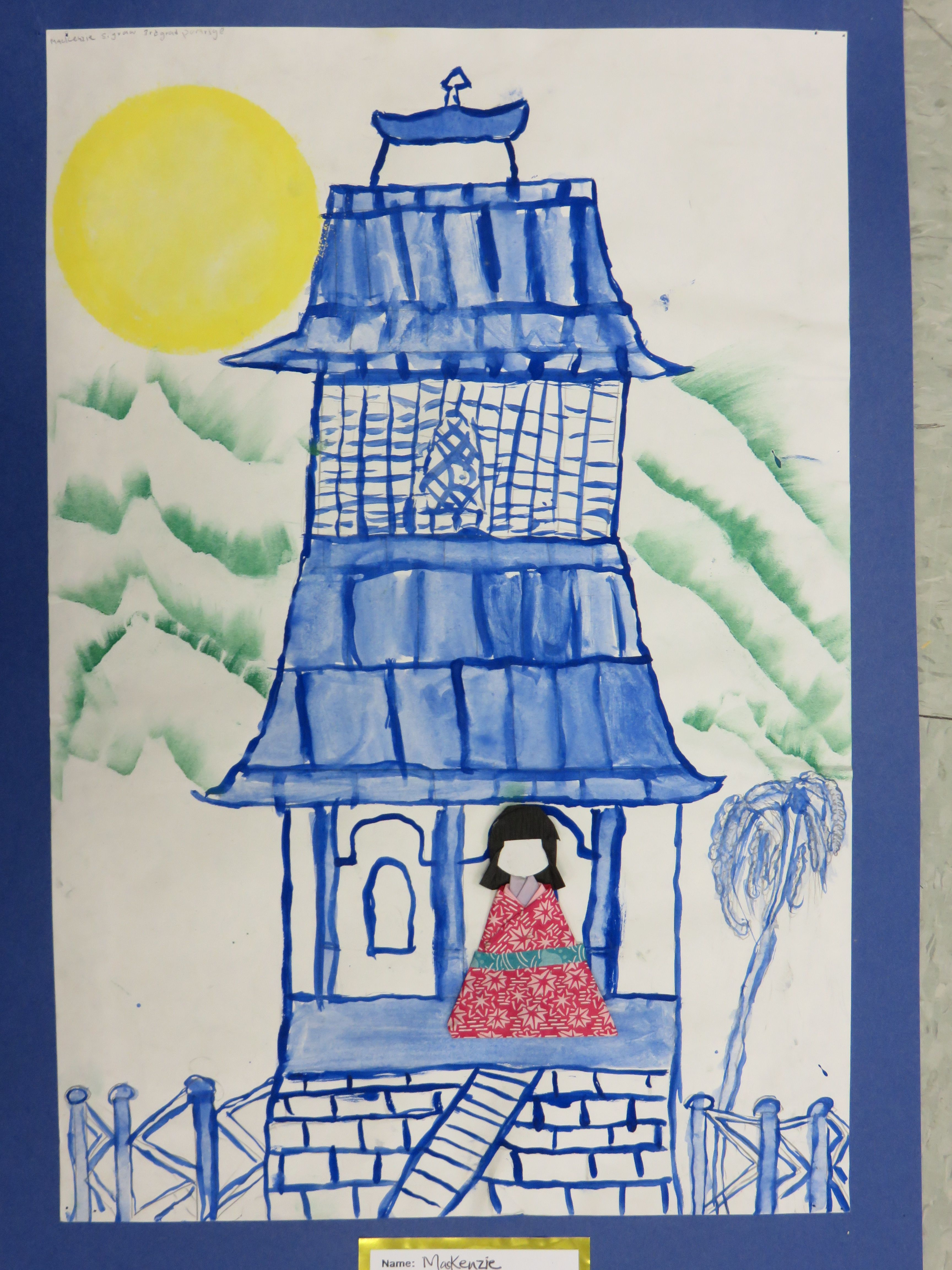 3rd Grade Japanese Pagoda Painting With Origami Doll 12 X 18 Lesson By Art Teacher Susan