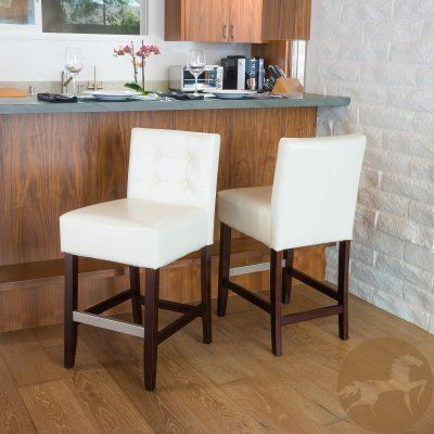 Best Selling Home 26 in. Counter Stool with Cushion - Set of 2 Ivory - 238582