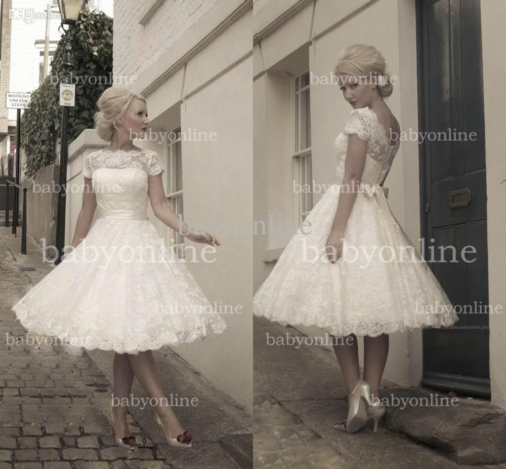 Wholesale 2013 Wedding Dresses - Buy 2014 Vintage Lace Puffy Wedding Dresses High Sheer Neck Cap Sleeves Zipper Button Sheer Back Summer Beach Backless Short Bridal Gowns BO3259, $153.99 | DHgate