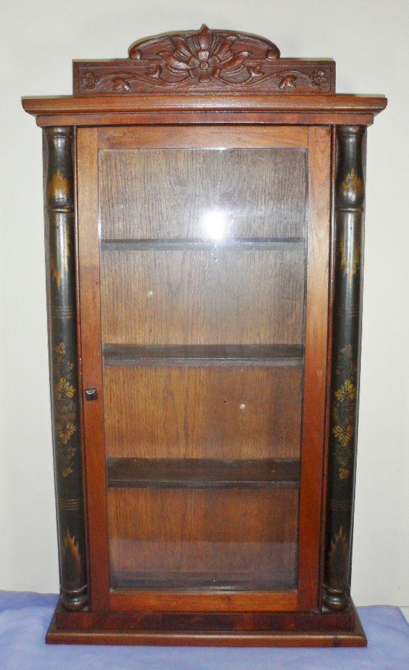 Antique Vintage Carved Wooden Glass Curio Knick Knack Medicine ...