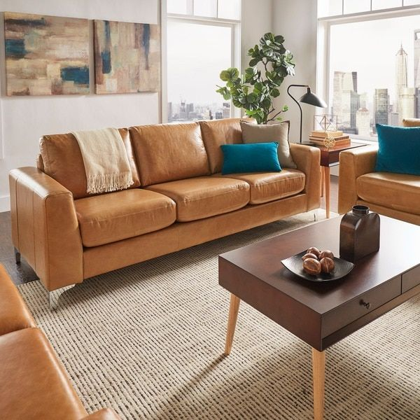 Modern Sofa Bastian Aniline Leather Caramel Brown Sofa by MID CENTURY LIVING