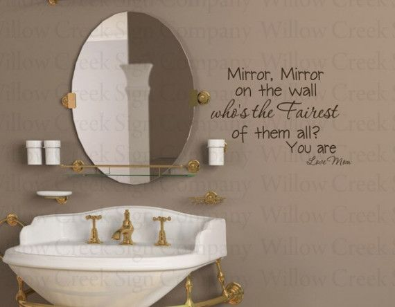 Mirror On The Wall Fairest Girl Bathroom Vinyl Wall Lettering - Custom vinyl wall decals sayings for bathroom