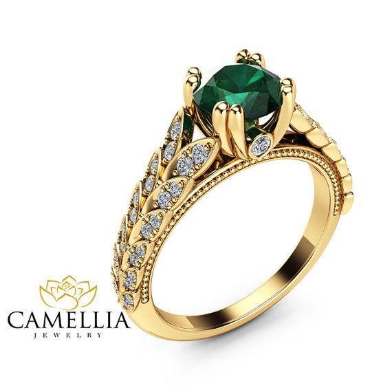 eca6d72dc1ef Hojas de Esmeralda anillo de compromiso 14K anillo esmeralda oro ...