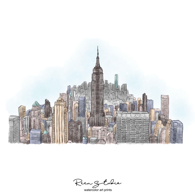 New York City Skyline Art Print Digital Printable Art Empire