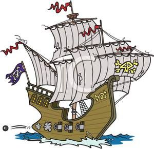 Cartoon Pirate Ship Royalty Free Clipart Picture