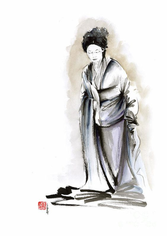 Geisha Classical Figure Kimono Woman Wearing Old Style Painting