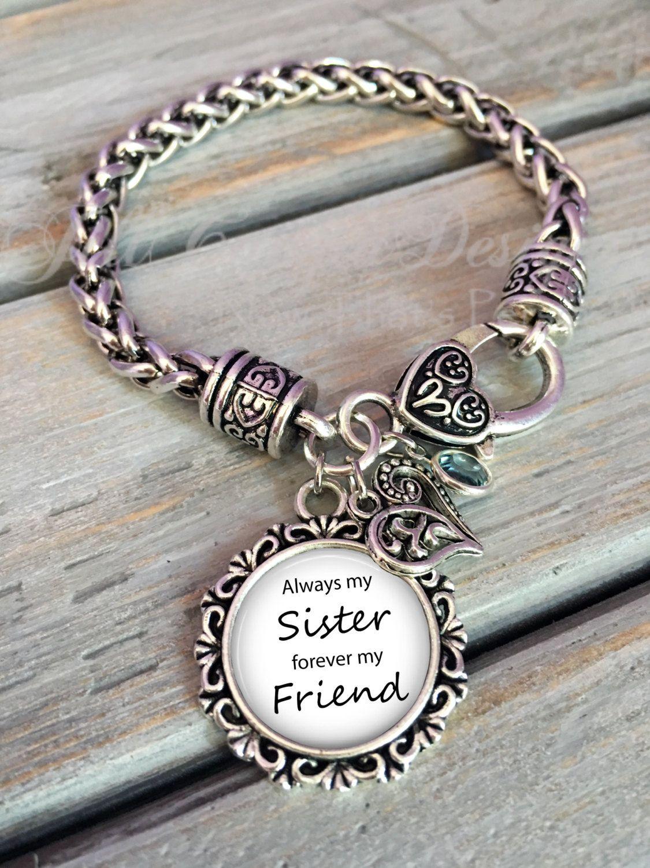 Always My Sister Forever My Friend Bracelet Maid of Honor Sister Bracelet QtbDVSy