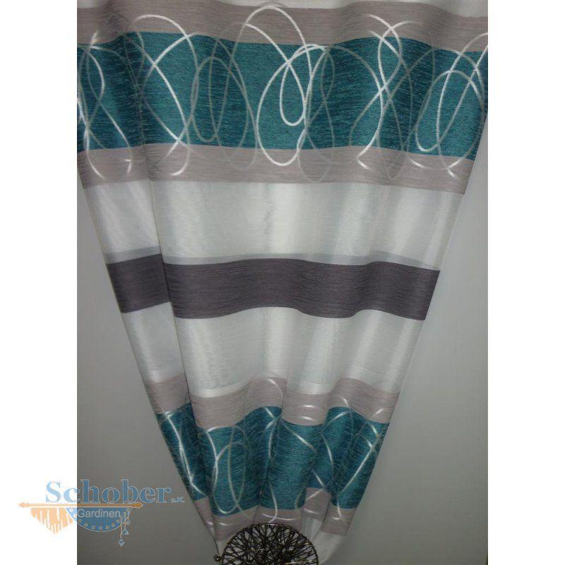 Petrol Deko deko stoff gardine vorhang querstreifen weiß petrol grau teiltr