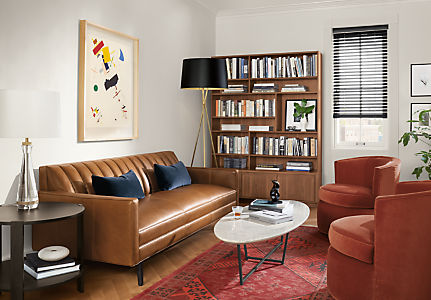 Goodwin Leather Sofas Mid Century Modern Sofas Sectionals Modern Living Room Furniture Home Blue Pillows Leather Sofa