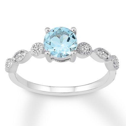 Jared Aquamarine Engagement Ring 1 10 Ct Tw Diamonds 14k