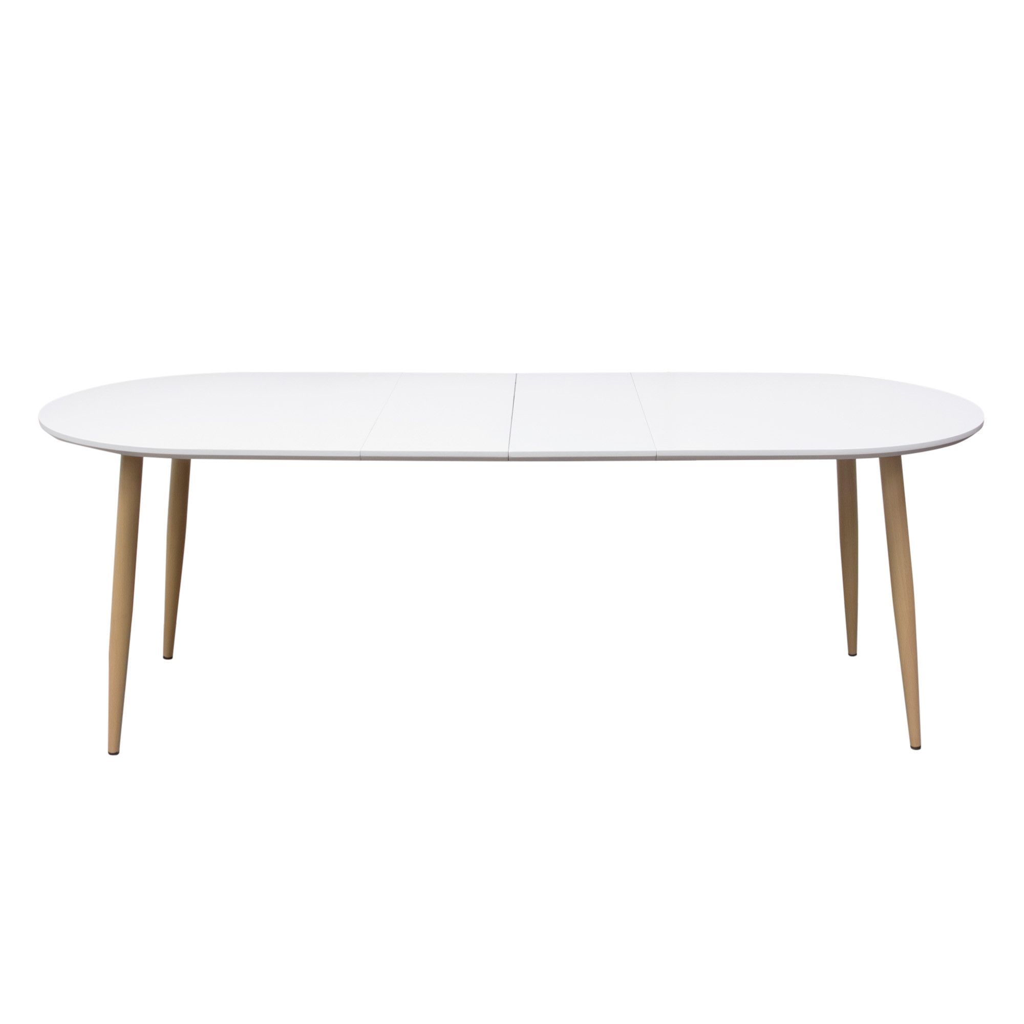 Ion Oval Extension Dining Table With White Top Amp Metal