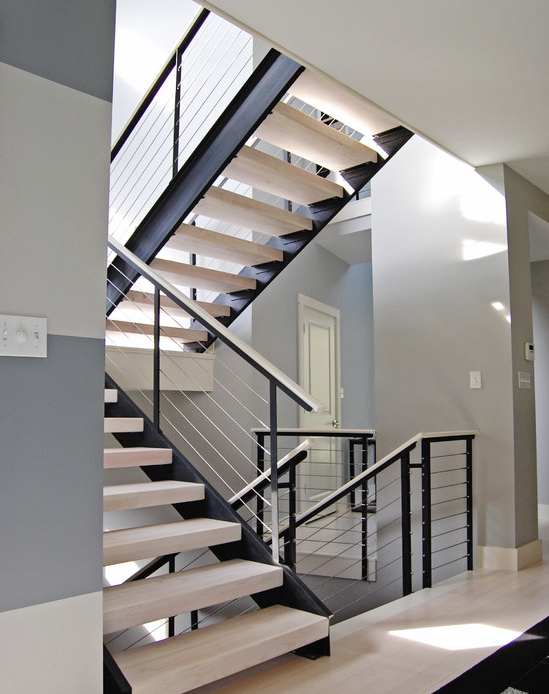 Extensive Modern Staircase With Cable Railing By Stainless Cable   Contemporary Banisters And Handrails   Outdoor Stair   Glass   Picket   Rustic   Traditional