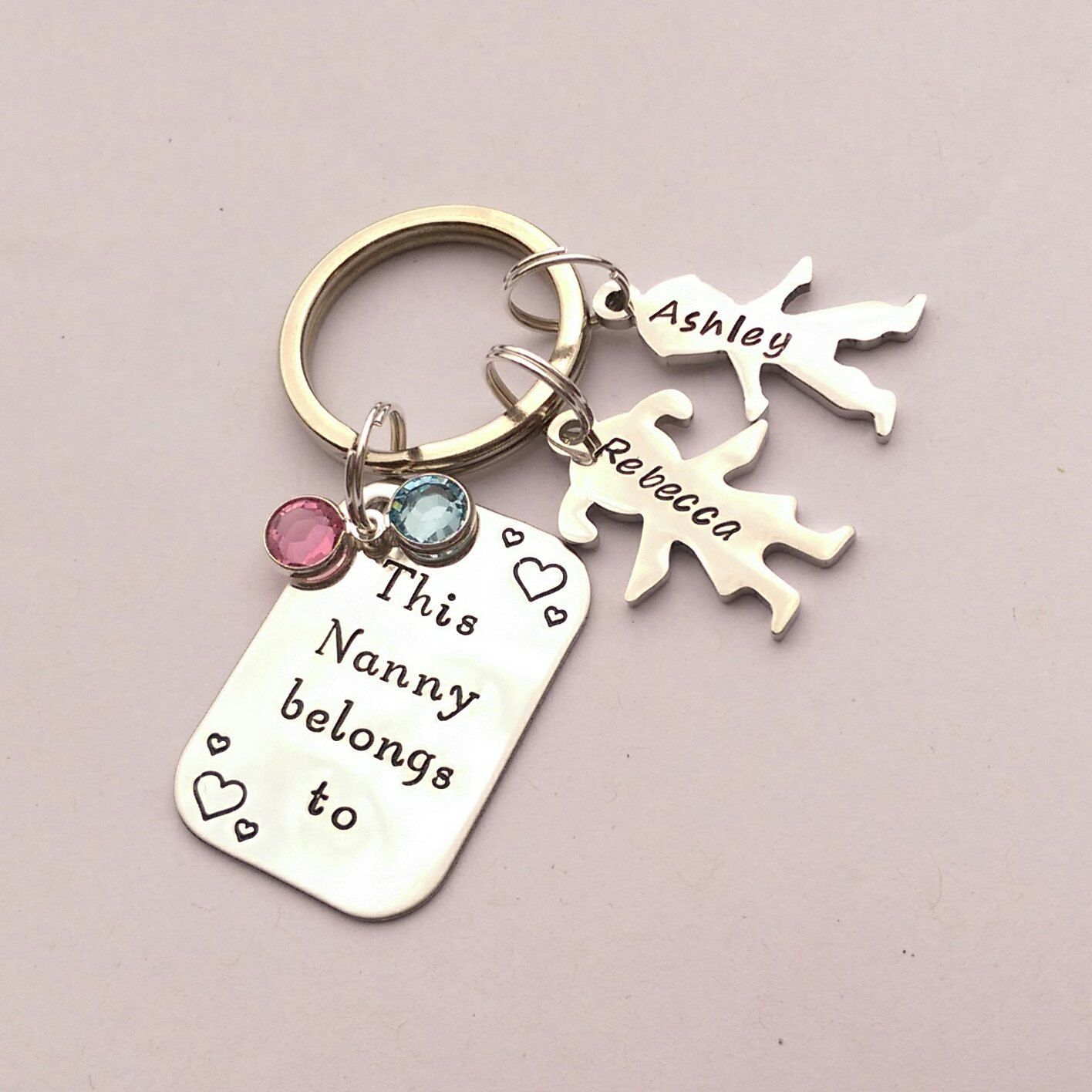 Personalised Nanny present - personalized Nanny keychain gift ...