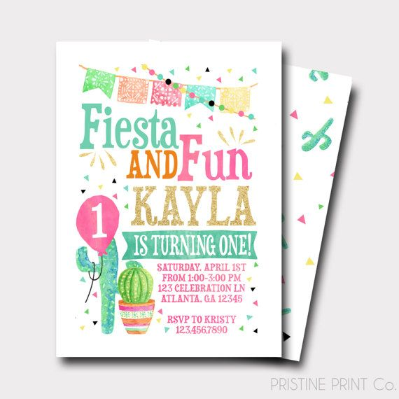 Fiesta Birthday Invitation And Fun Spanish By PristinePrintCo