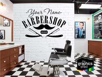 salon sticker decal hair gentleman posters shave wall art decals barber shop parede decor. Black Bedroom Furniture Sets. Home Design Ideas