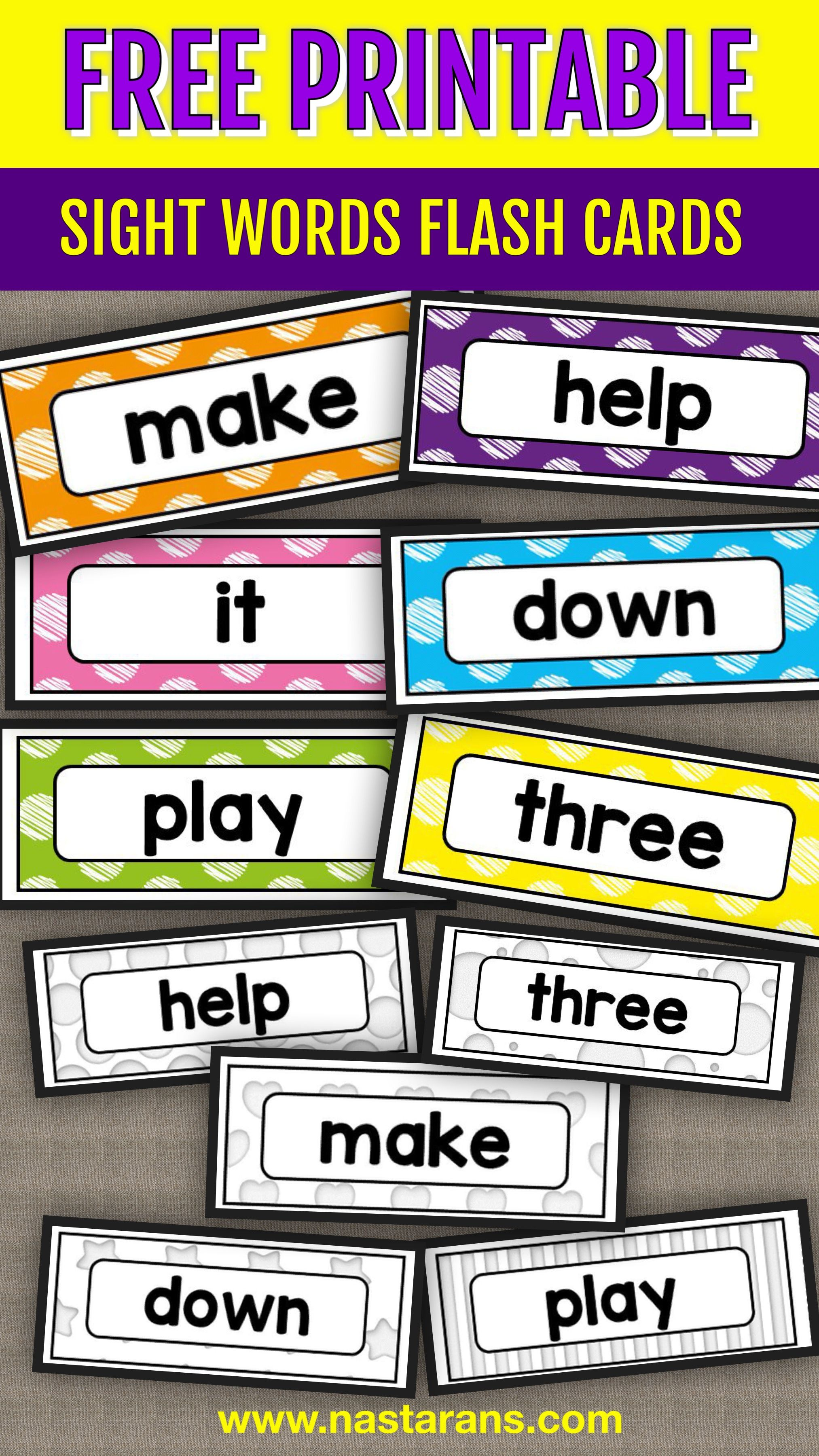 It is a picture of Free Printable Sight Word Flashcards in colorful