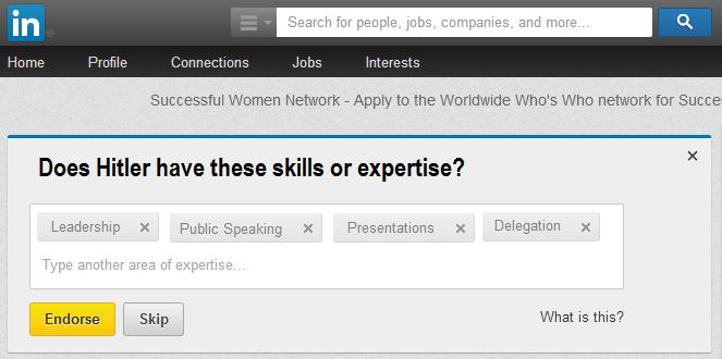 Endorses for skills on LinkedIn