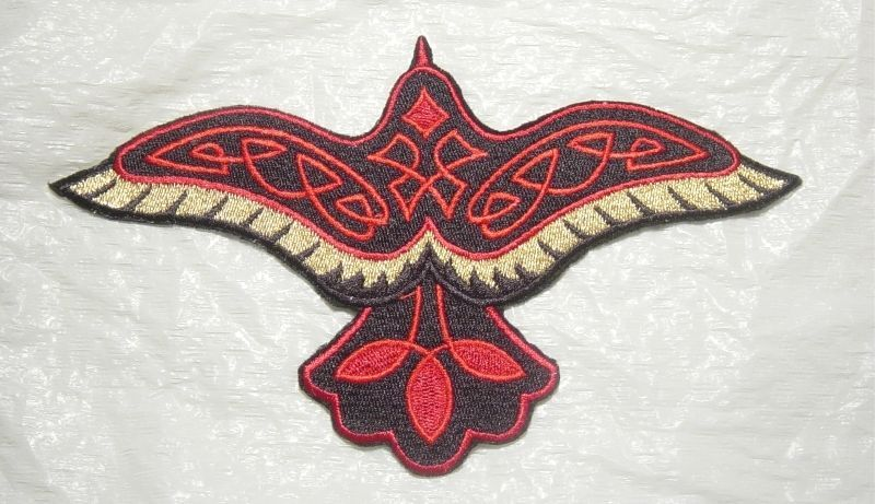 "CELTIC RAVEN w RED Knotwork Large Embroidered Iron On Patch 7.5"" x 4.5"""