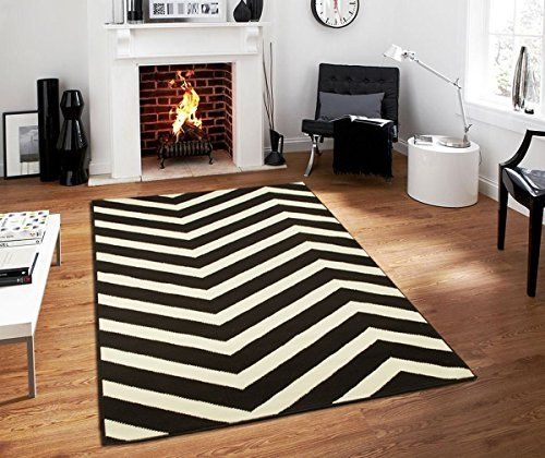Century Collection Chevron Rugs Large 8x11 Black And White Indoor