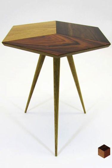 Geometric parquetry side table handmade in East London