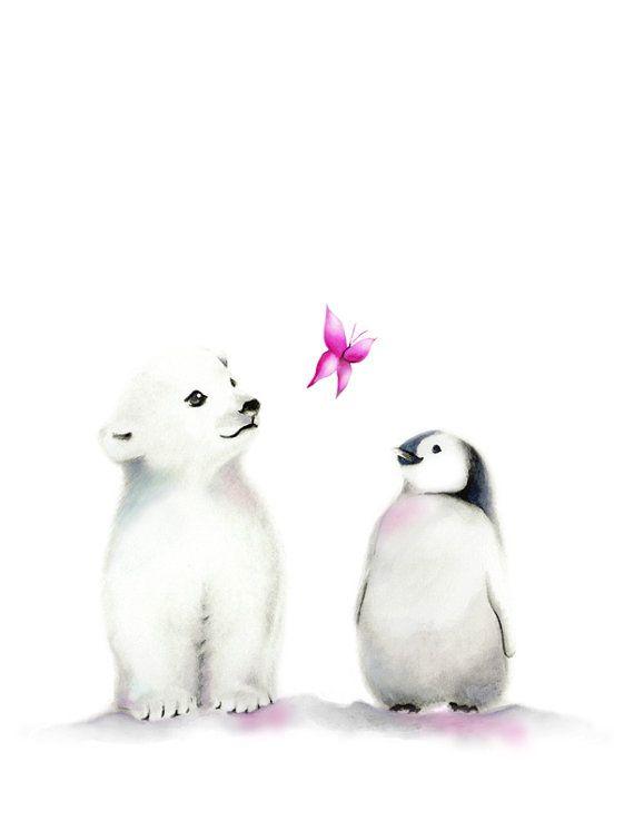 Penguin Nursery Polar Bear Art Arctic Animals Baby Girl | Etsy