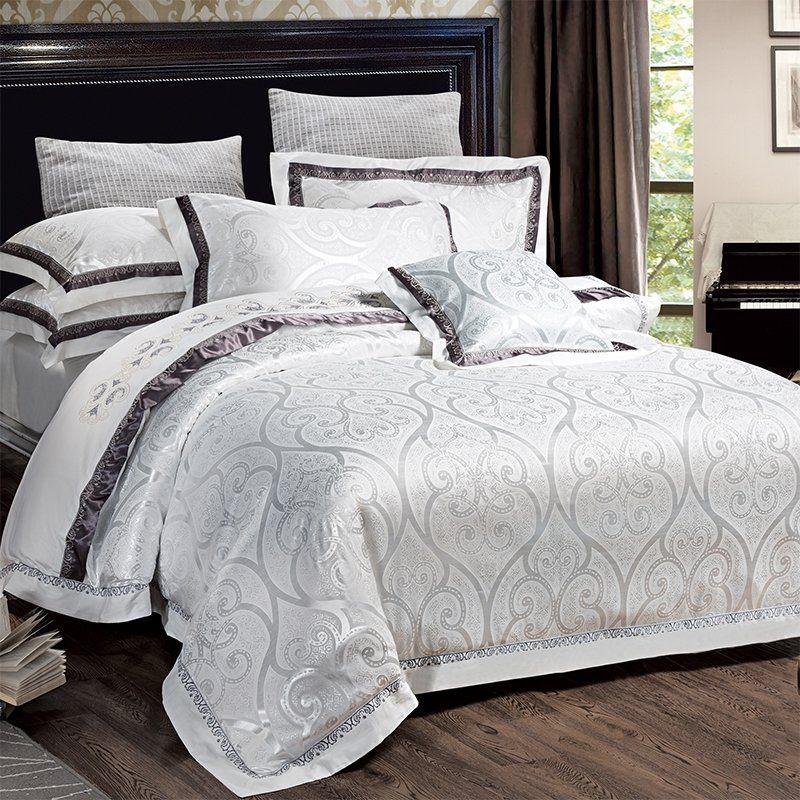 White Jacquard Bedding Bedspread Bedroom Sets