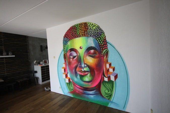 Budha mural. #mural #muralart #murals #color #muurschildering #muurdecoratie #malerei #painting #paintings #wallpainting #wallart #murales #graffitimural #urbanwalls #wallporn #colorful #colors #muralista #muralism #muralisimo
