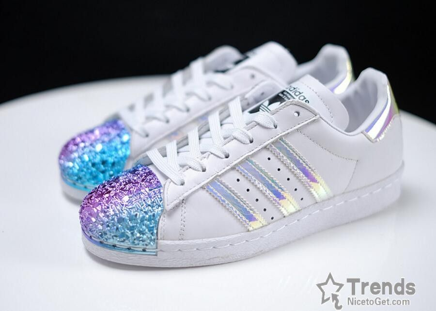 757305c311d Adidas Superstar Classic White Metallic Hologram Iridescent Black Logo