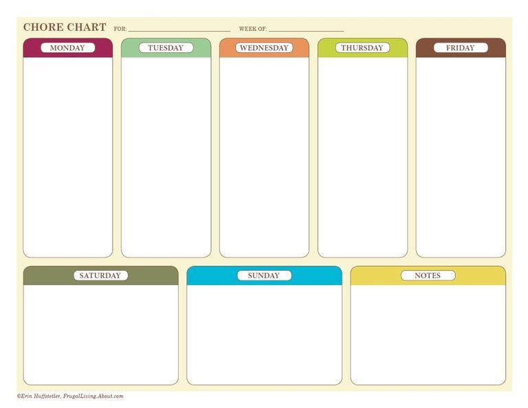 Free Printable Chore Charts for Kids and the Whole Family - chore chart online