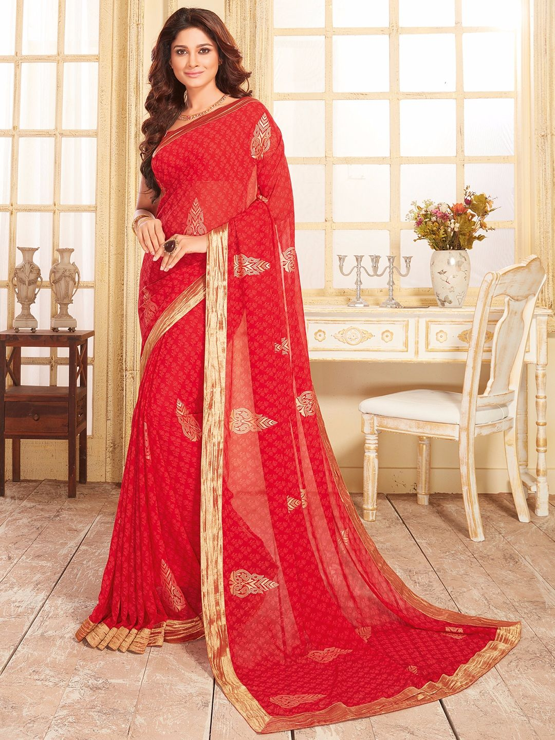 a5769267bce Shop Red georgette dressy printed saree online from G3fashion India. Brand  - Vishal Prints
