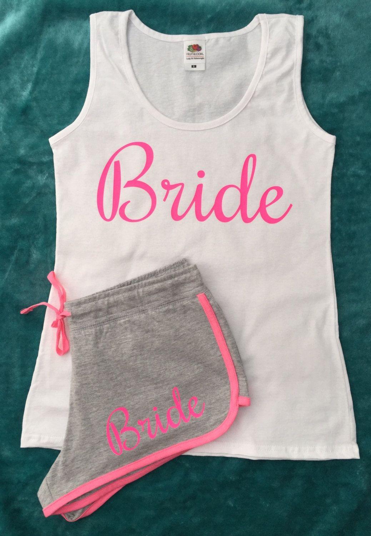 Bride To Be Bachelorette Gift Bridal Party Hen Weekend Pjs Set Pyjamas Black Neon Pink Shorts Tank Top Vest By