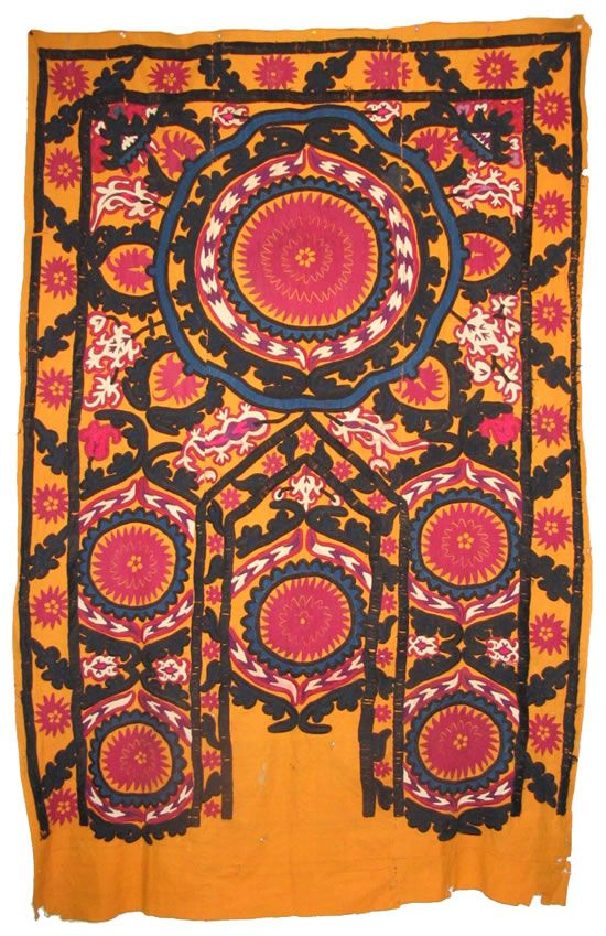 Suzani tapestry, tribal textiles, silk hand embroidered cotton cloth. Antique, early of 20th c. SOLD