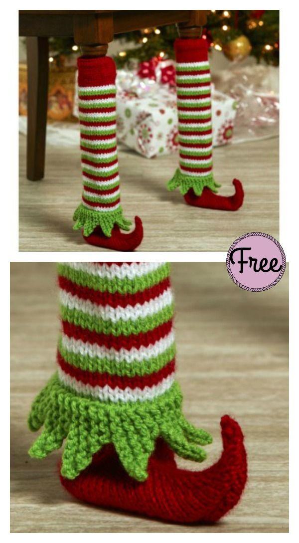 Photo of Elf Shoe Table Leg Cover Free Knitting Pattern