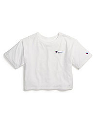 Heritage Cropped Tee, Embroidered Logo