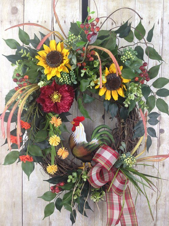Photo of Summer wreath, spring wreath, front door wreath, rooster wreath, Mother's Day wreath, farmhouse wreath, outdoor sunflower wreath
