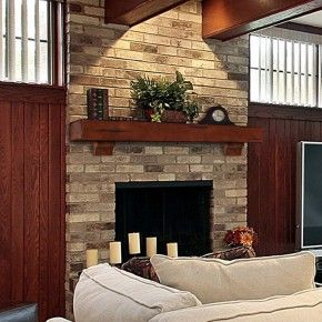 Rustic Wood Mantels On Red Brick Fireplaces Decorations