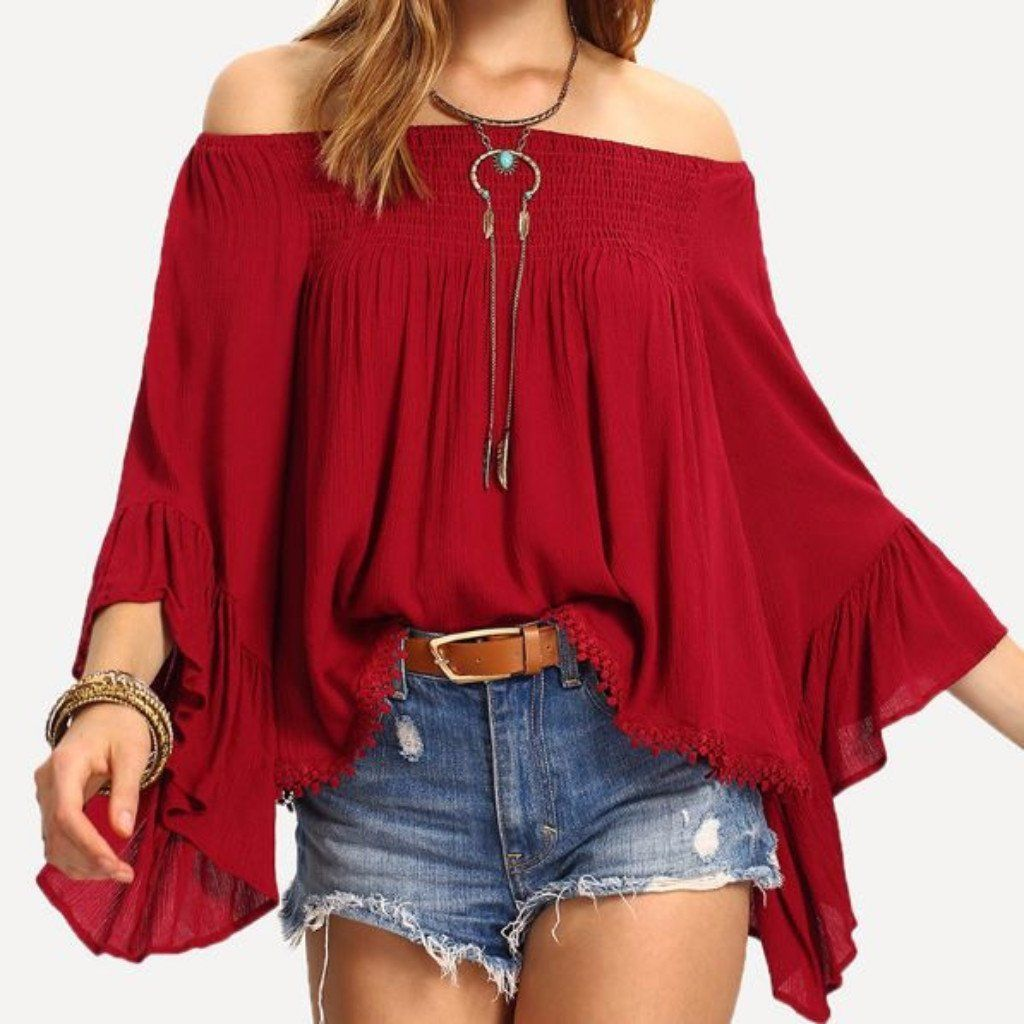 45393582e Red Butterfly Sleeve Slash Neck Women Loose Tops in 2019   I would ...